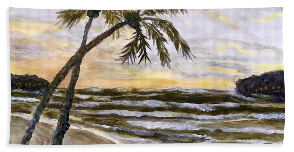 Coconuts Bath Sheet featuring the painting Coconut Palms On Cloudy Day by Anne Sands