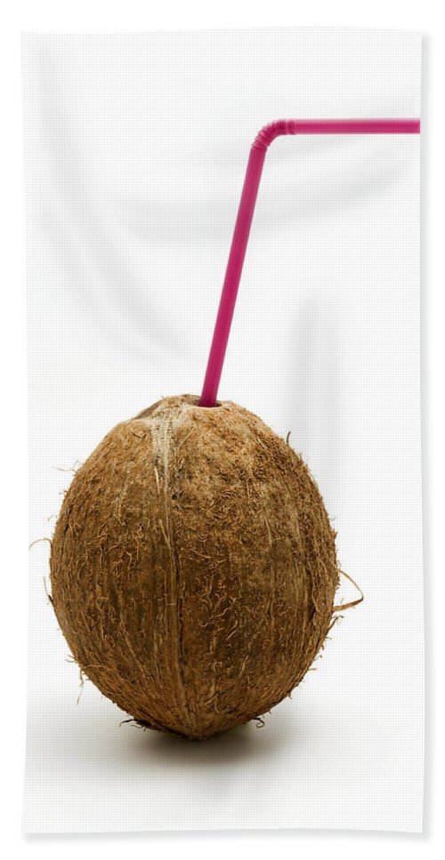 White Background Hand Towel featuring the photograph Coconut With A Straw by Fabrizio Troiani