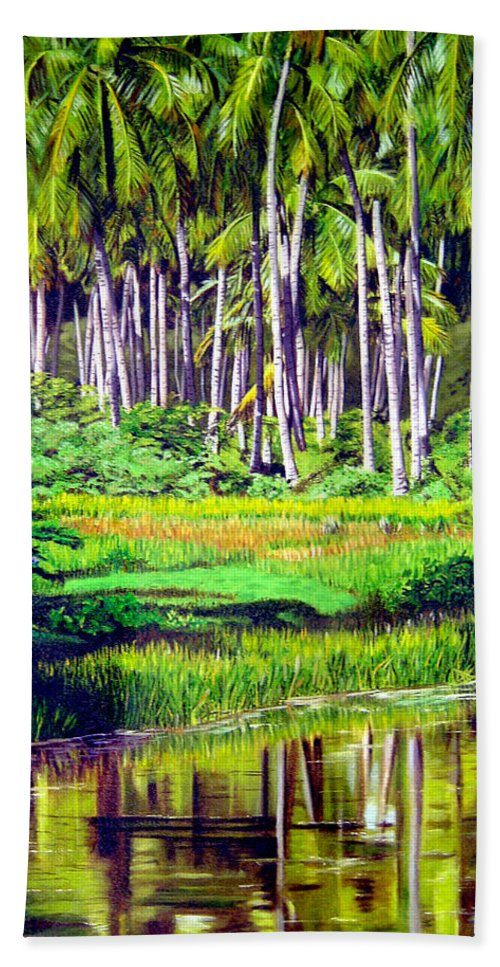 Coconuts Water River Green Art Tropical Bath Sheet featuring the painting Coconuts Trees by Jose Manuel Abraham