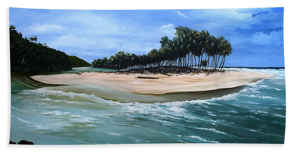 Ocean Paintings Sea Scape Paintings  Beach Paintings Palm Trees Paintings Water Paintings River Paintings  Caribbean Paintings  Tropical Paintings Trinidad And Tobago Paintings Beach Paintings Hand Towel featuring the painting Cocos Bay Trinidad by Karin Dawn Kelshall- Best