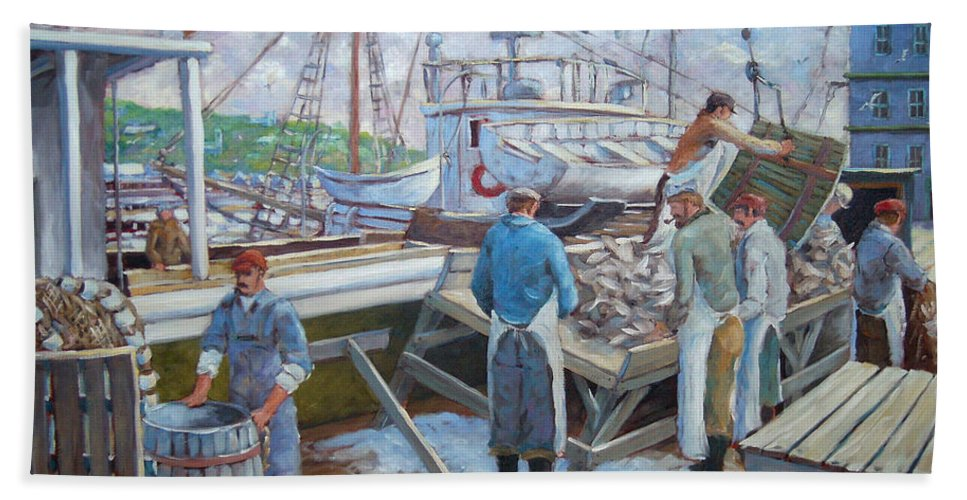 Cod Hand Towel featuring the painting Cod Memories by Richard T Pranke