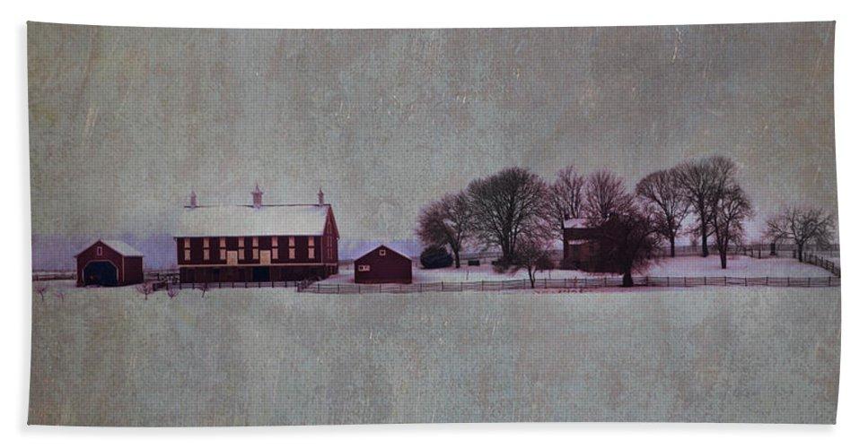 Codori Bath Sheet featuring the photograph Codori Farm At Gettysburg In The Snow by Bill Cannon