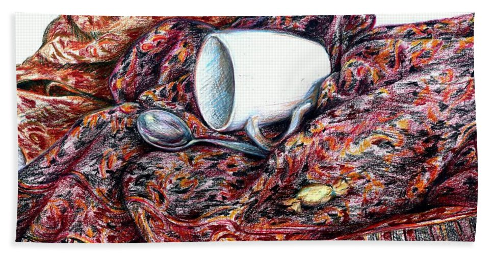 Coffee Hand Towel featuring the drawing Coffee And Cashmere by K M Pawelec