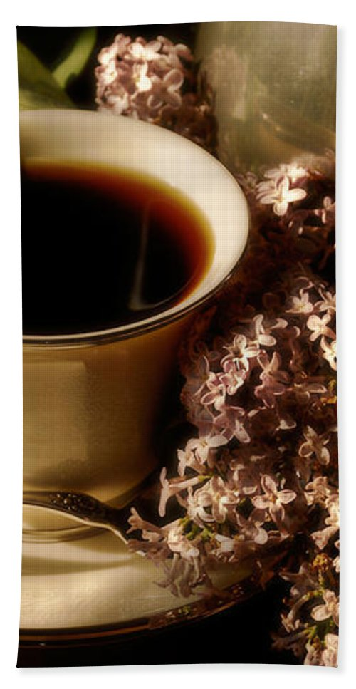 Coffee Bath Sheet featuring the photograph Coffee And Lilacs In The Morning by Lois Bryan