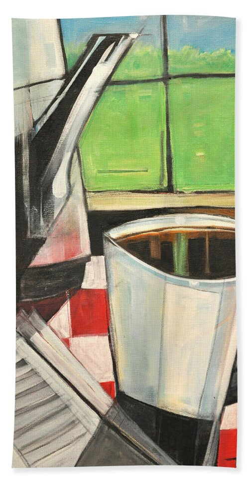 Coffee Bath Sheet featuring the painting Coffee And Morning News by Tim Nyberg
