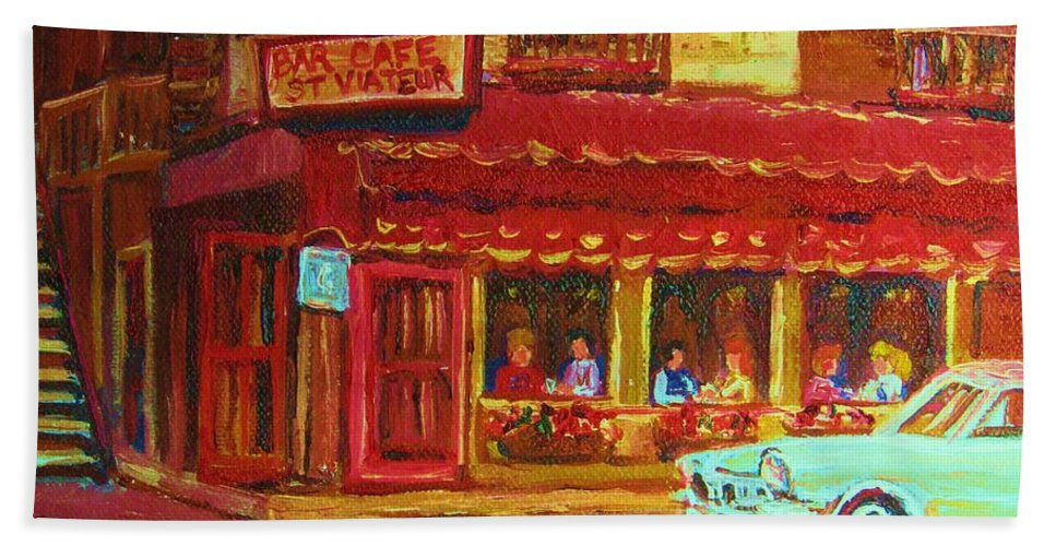 St Bath Sheet featuring the painting Coffee Bar On The Corner by Carole Spandau