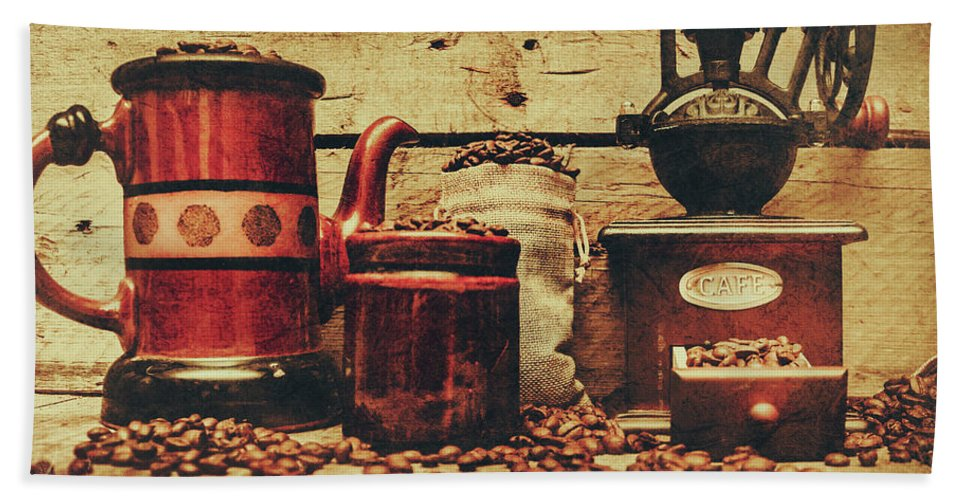 Beverage Hand Towel featuring the photograph Coffee Bean Grinder Beside Old Pot by Jorgo Photography - Wall Art Gallery