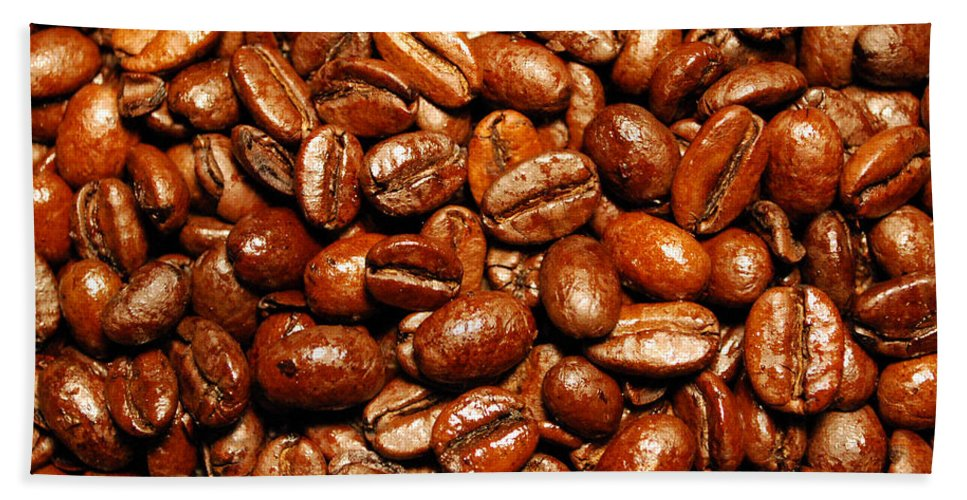 Coffee Hand Towel featuring the photograph Coffee Beans by Nancy Mueller