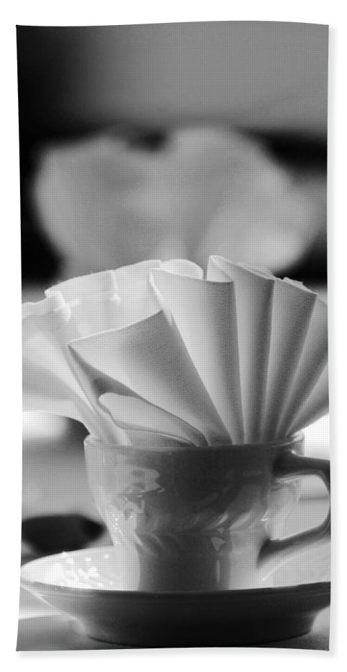 Black And White Bath Sheet featuring the photograph Coffee Cup Black And White by Jill Reger