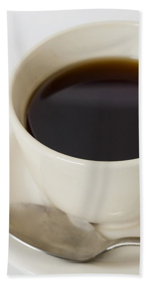 Coffee Hand Towel featuring the photograph Coffee Cup On Saucer With Spoon by Donald Erickson