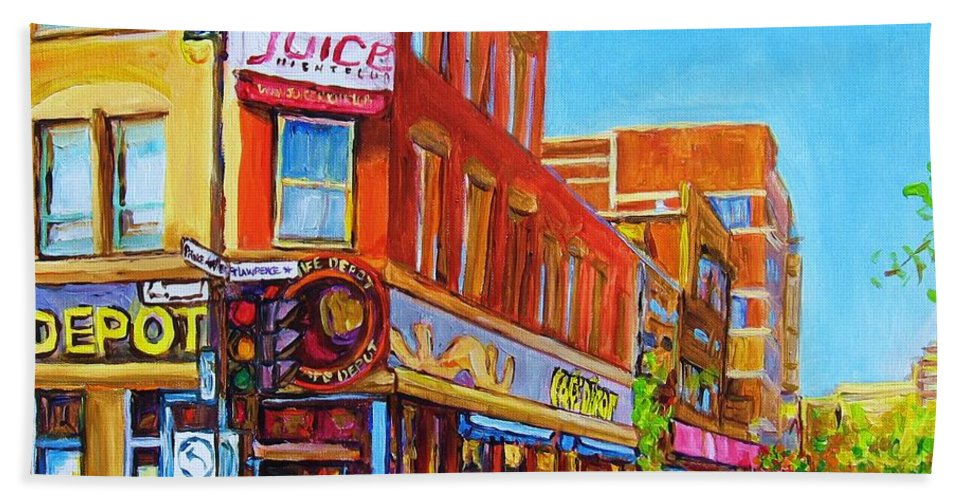 Cityscape Hand Towel featuring the painting Coffee Depot Cafe And Terrace by Carole Spandau