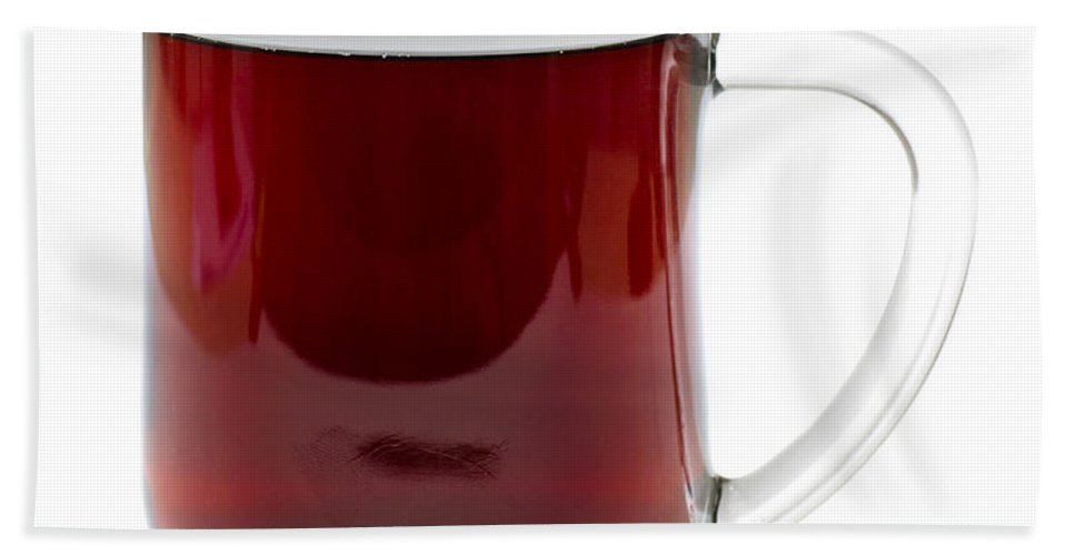 Coffee Hand Towel featuring the photograph Coffee In Glass Mug Isolated On White by Donald Erickson