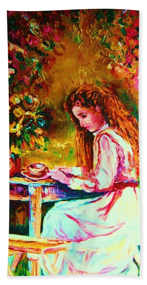 Impressionism Bath Towel featuring the painting Coffee In The Garden by Carole Spandau