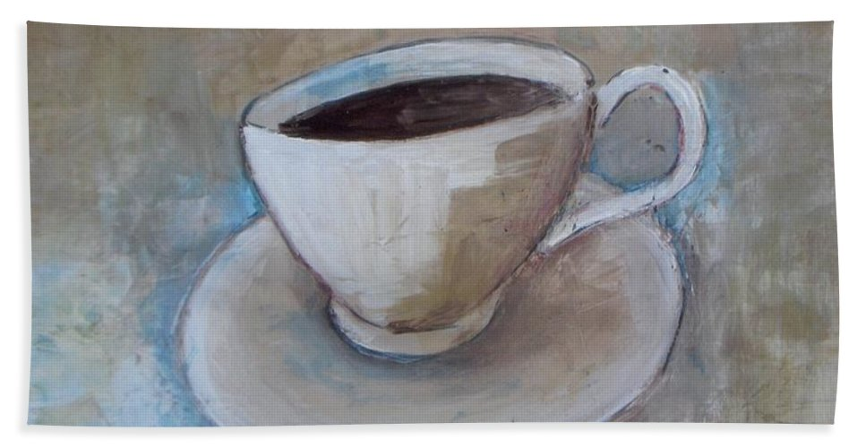 Restaurant Bath Sheet featuring the painting Coffee by Vesna Antic
