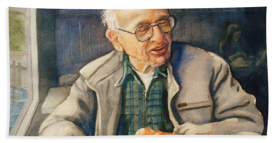 Coffee Bath Sheet featuring the painting Coffee With Andy by Marilyn Jacobson