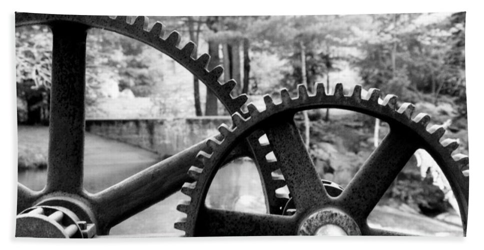 Metal Bath Sheet featuring the photograph Cogs by Greg Fortier
