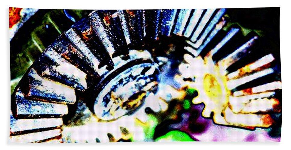 Cogs Bath Sheet featuring the digital art Cogs by Tim Allen