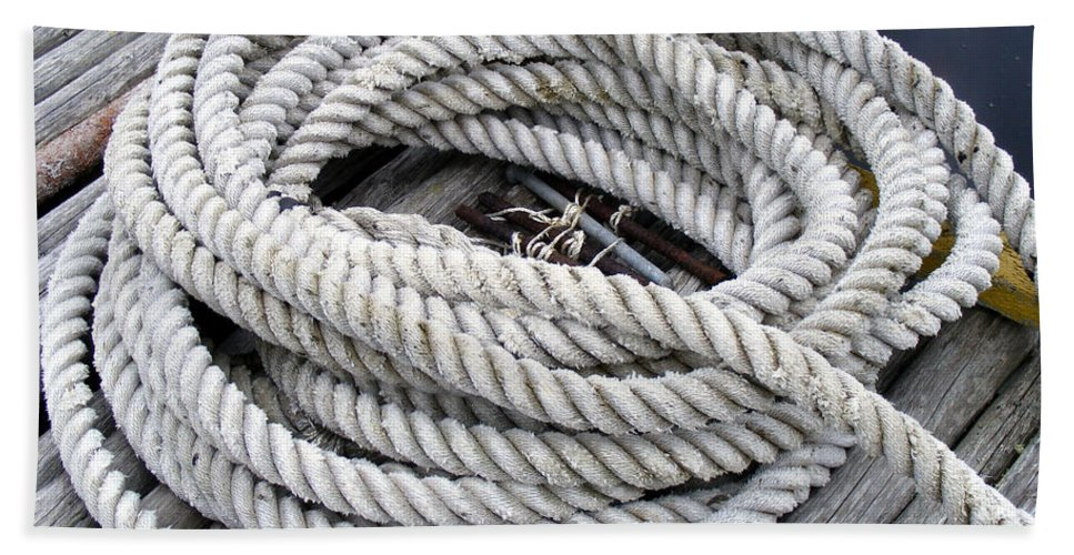 Coiled Rope Bath Sheet featuring the photograph Coiled Rope by Barbara Griffin