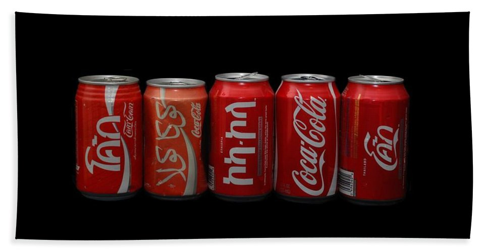 Red Hand Towel featuring the photograph Coke Cans by Rob Hans