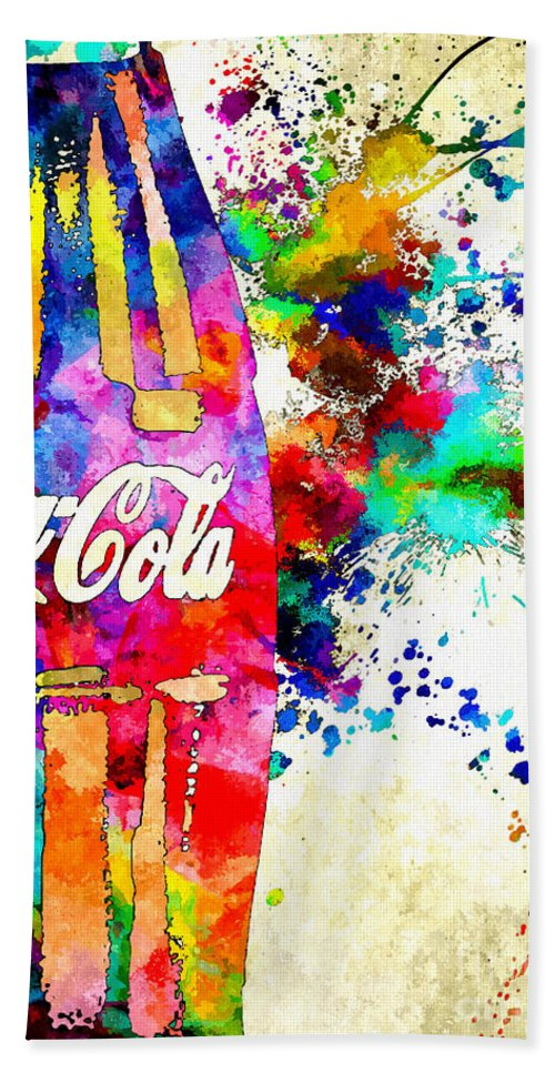 Coke Bath Sheet featuring the mixed media Coke by Daniel Janda