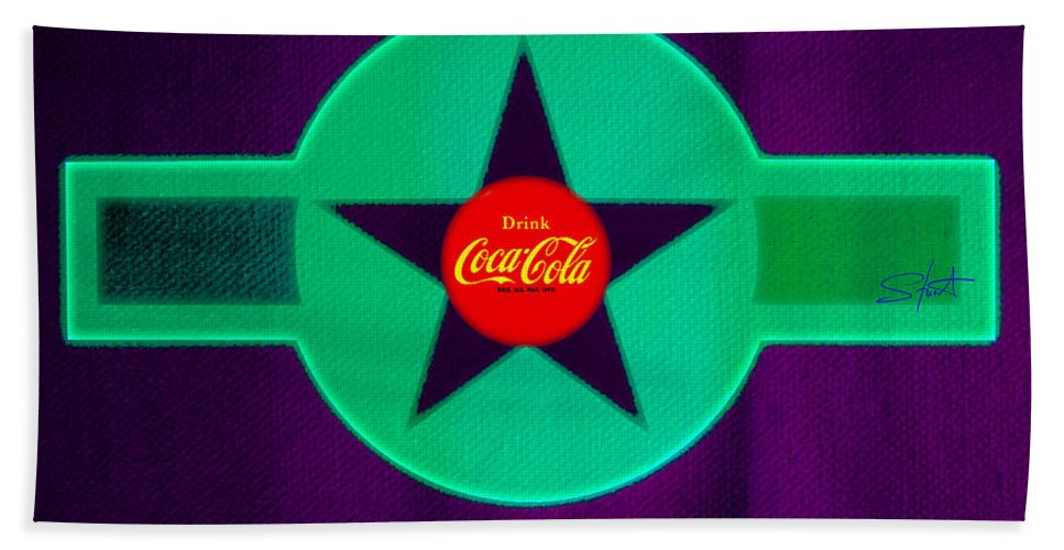 Label Bath Towel featuring the painting Coke N Lime by Charles Stuart