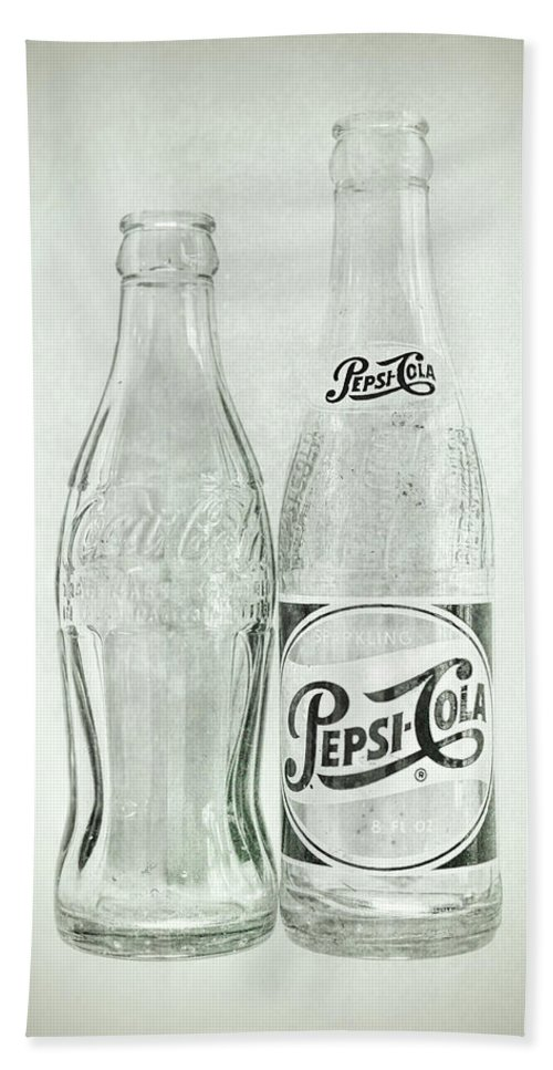 Terry D Photography Hand Towel featuring the photograph Coke Or Pepsi Black And White by Terry DeLuco