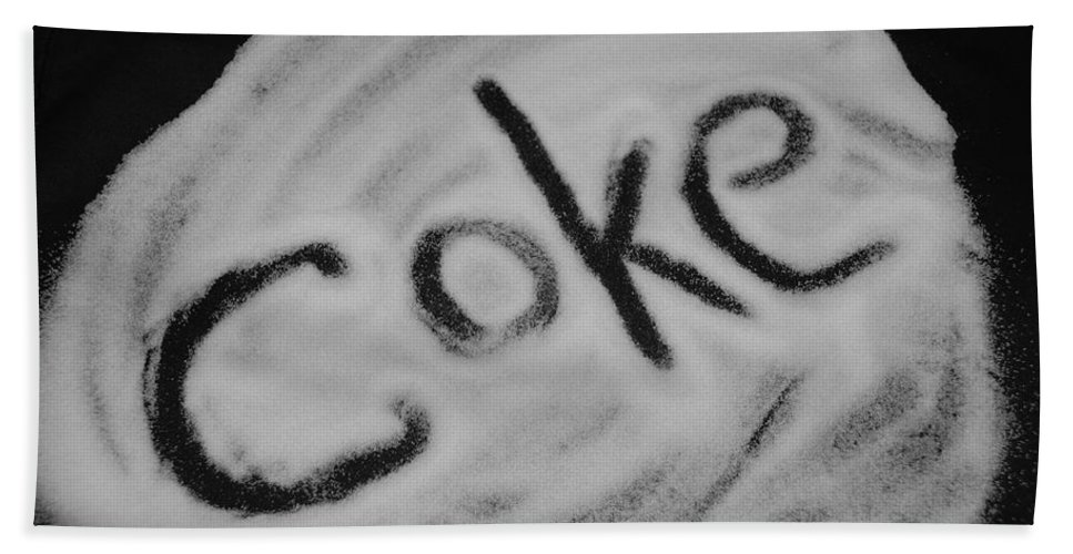 Black And White Hand Towel featuring the photograph Coke by Rob Hans
