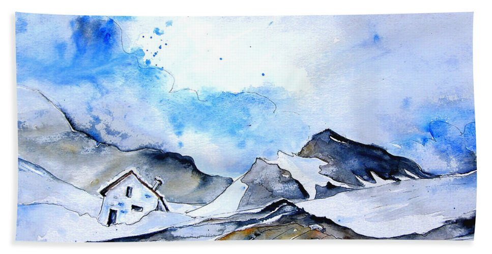 Montains Hand Towel featuring the painting Col Du Pourtalet In The Pyrenees 01 by Miki De Goodaboom