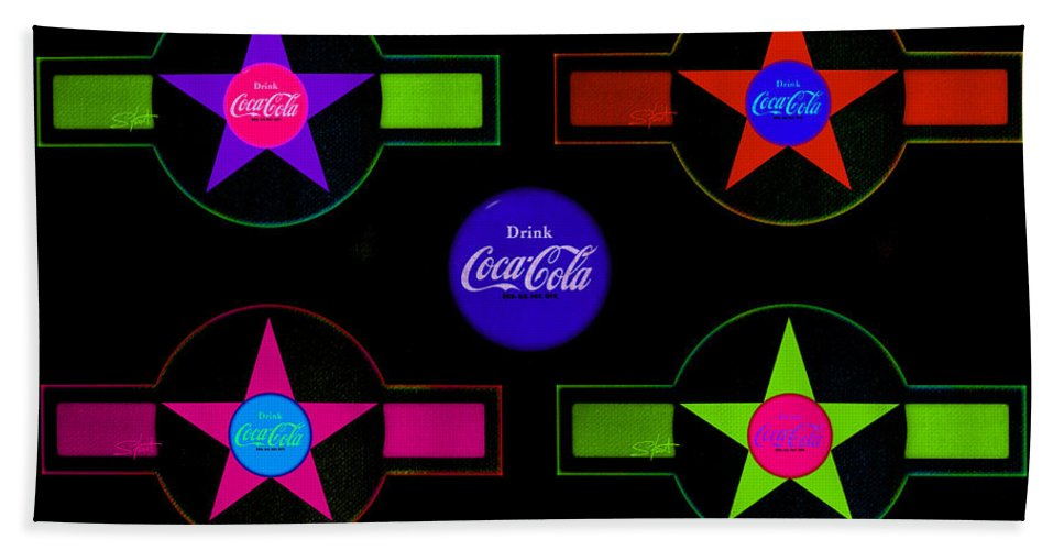 Label Bath Sheet featuring the painting Cola-candy by Charles Stuart