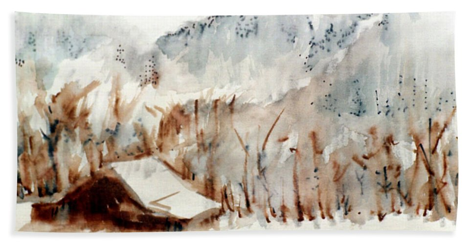 Cold Cove Bath Sheet featuring the mixed media Cold Cove by Seth Weaver