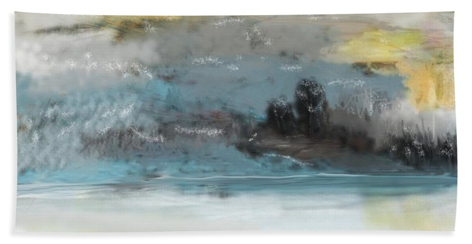 Landscape Bath Towel featuring the digital art Cold Day Lakeside Abstract Landscape by David Lane
