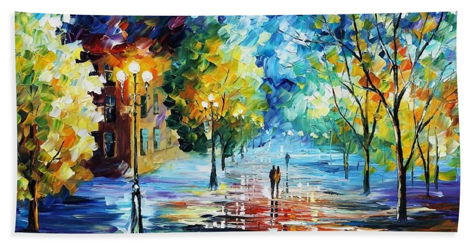 Afremov Bath Sheet featuring the painting Cold Emotions by Leonid Afremov