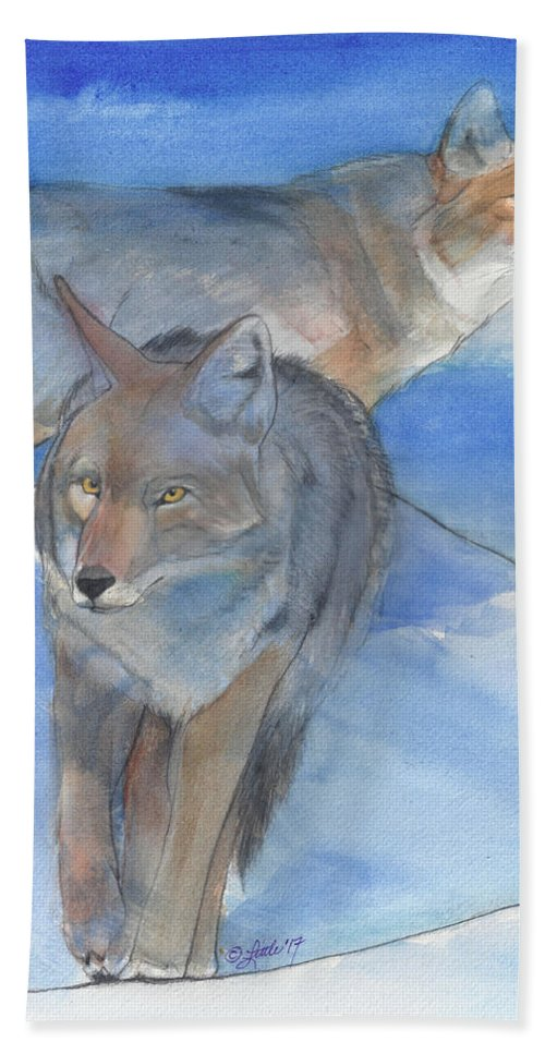 Animals Bath Sheet featuring the painting Cold Morning by Pam Little