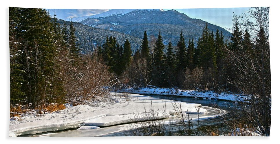River Bath Towel featuring the photograph Cold River Bend by Rick Monyahan