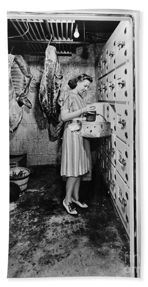 1940 Hand Towel featuring the photograph Cold Storage Room, C1940 by Granger
