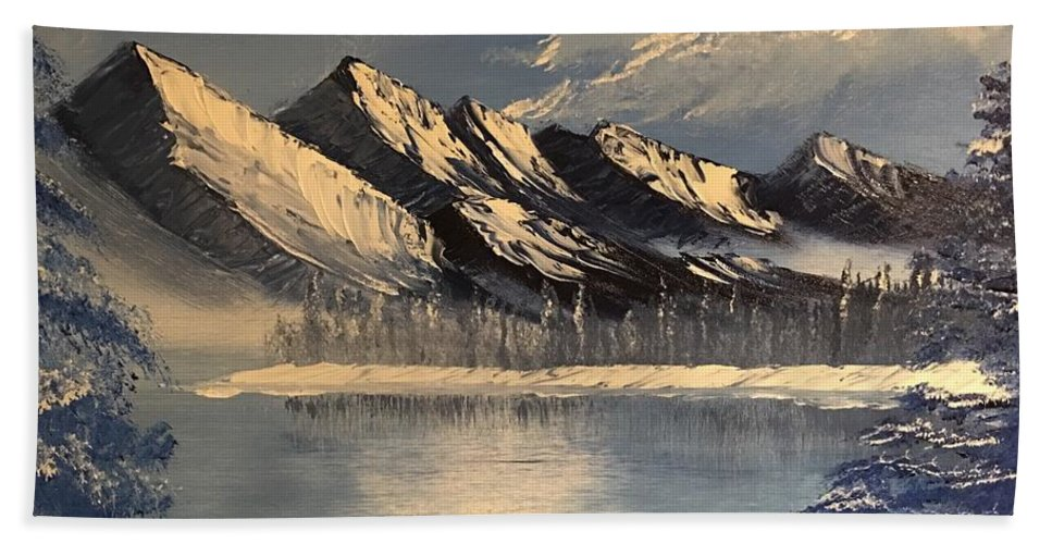 Winter Bath Sheet featuring the painting Cold Winter Lake by Sonny Sinay