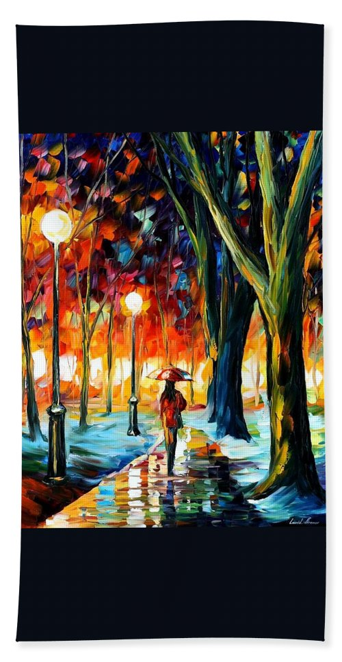 Afremov Bath Sheet featuring the painting Cold Winter by Leonid Afremov