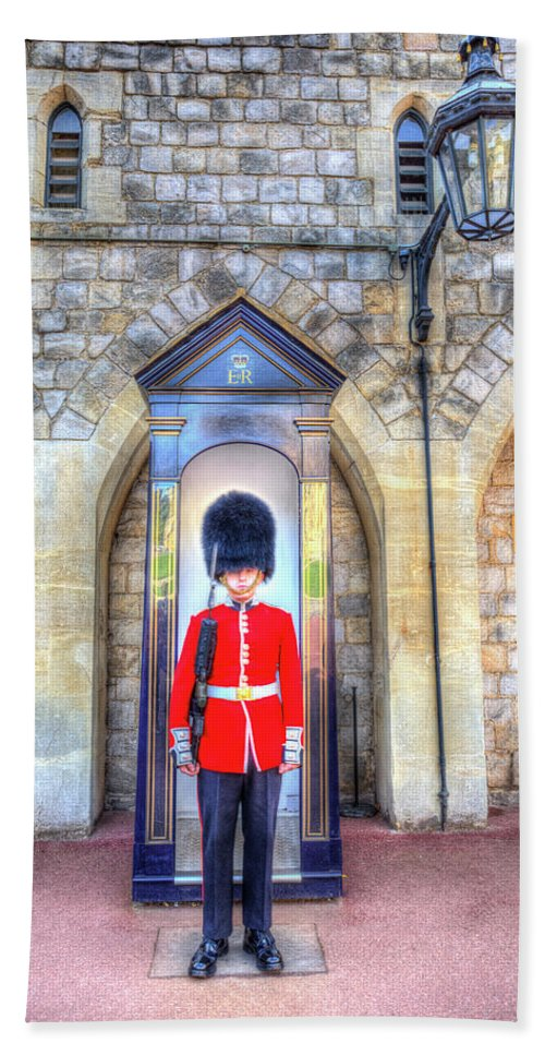 Windsor Castle Hand Towel featuring the photograph Coldstream Guard by David Pyatt