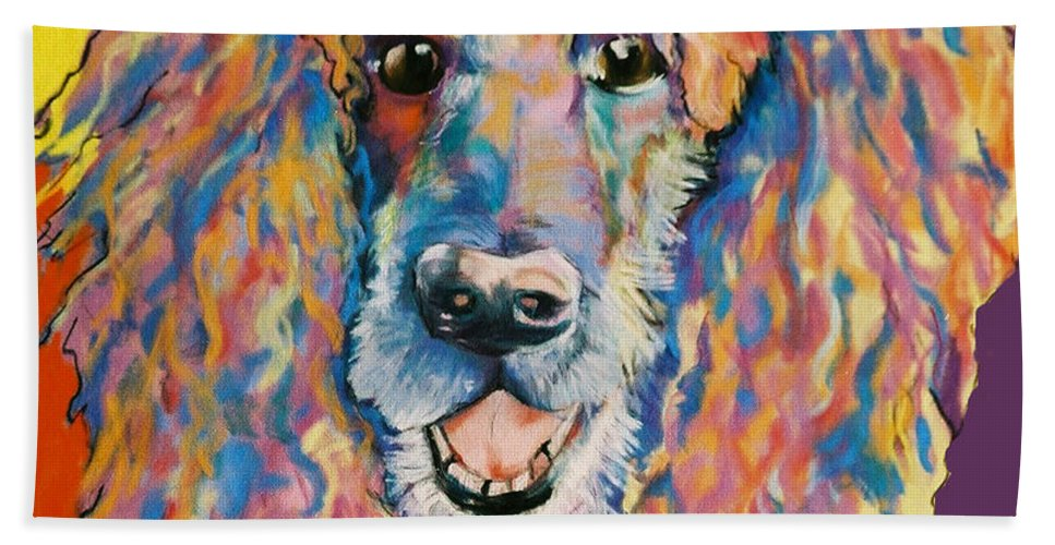 Standard Poodle Bath Towel featuring the painting Cole by Pat Saunders-White