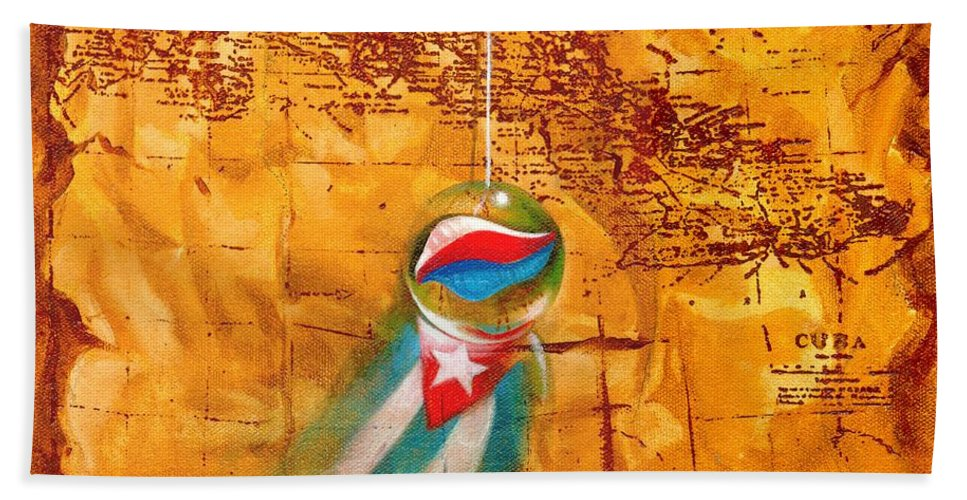 Marble Hanging By A String Bath Towel featuring the painting Colgando En Un Hilito by Roger Calle