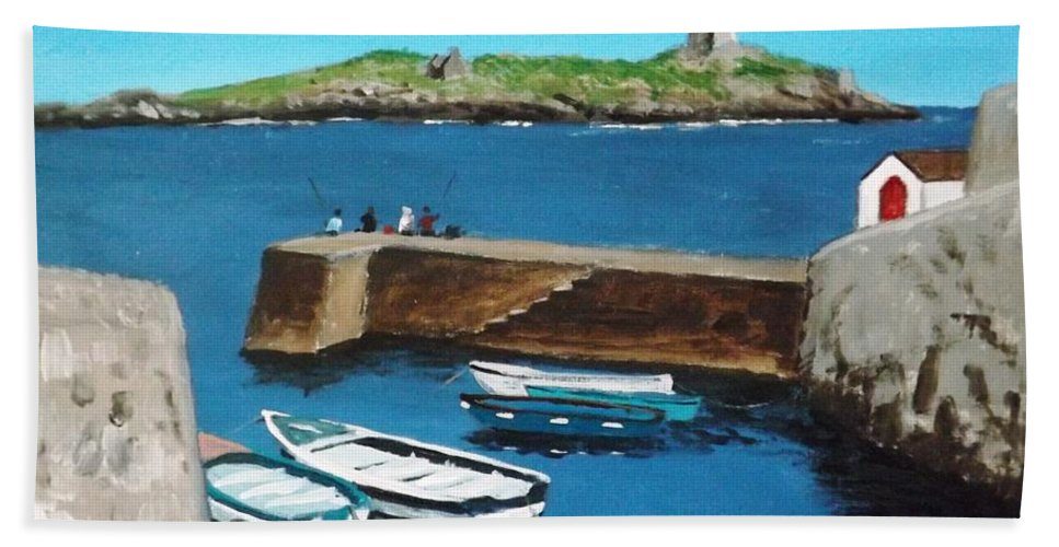 Harbour Hand Towel featuring the painting Coliemore Harbour, Dalkey by Tony Gunning