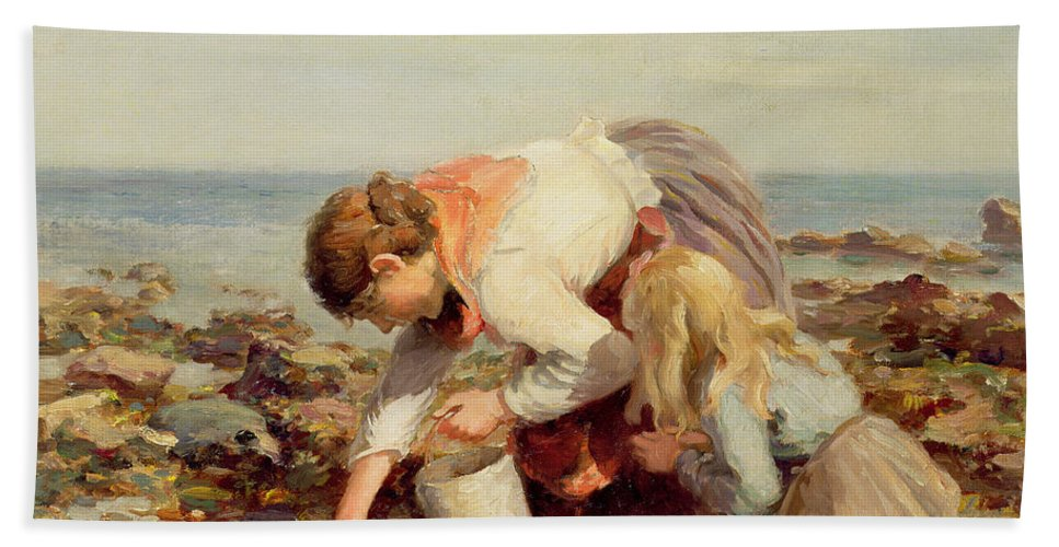 Collecting Bath Sheet featuring the painting Collecting Shells by William Marshall Brown