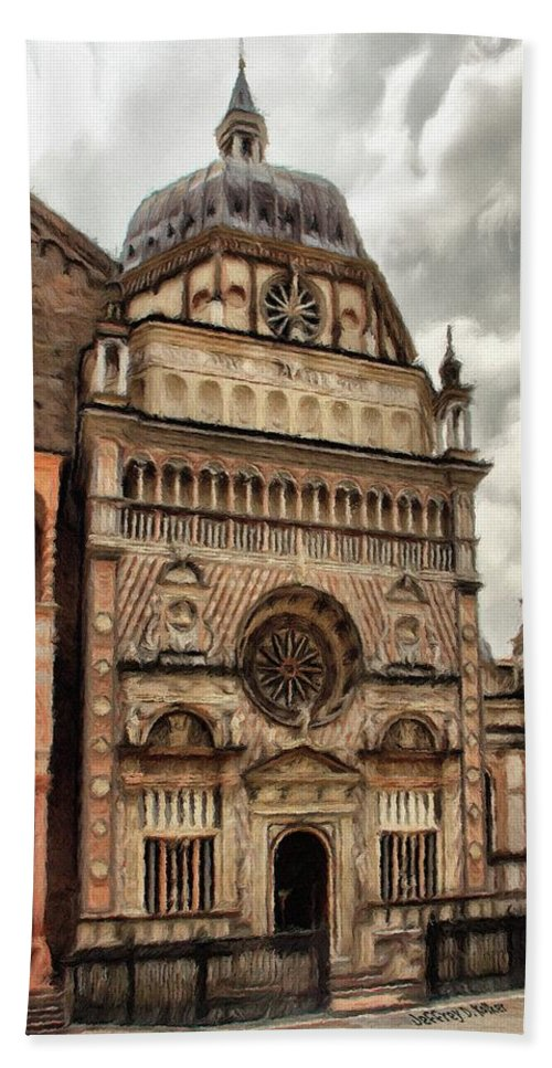 Chapel Bath Towel featuring the painting Colleoni Chapel by Jeffrey Kolker