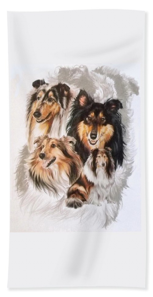 Purebred Bath Towel featuring the mixed media Collie W/ghost by Barbara Keith