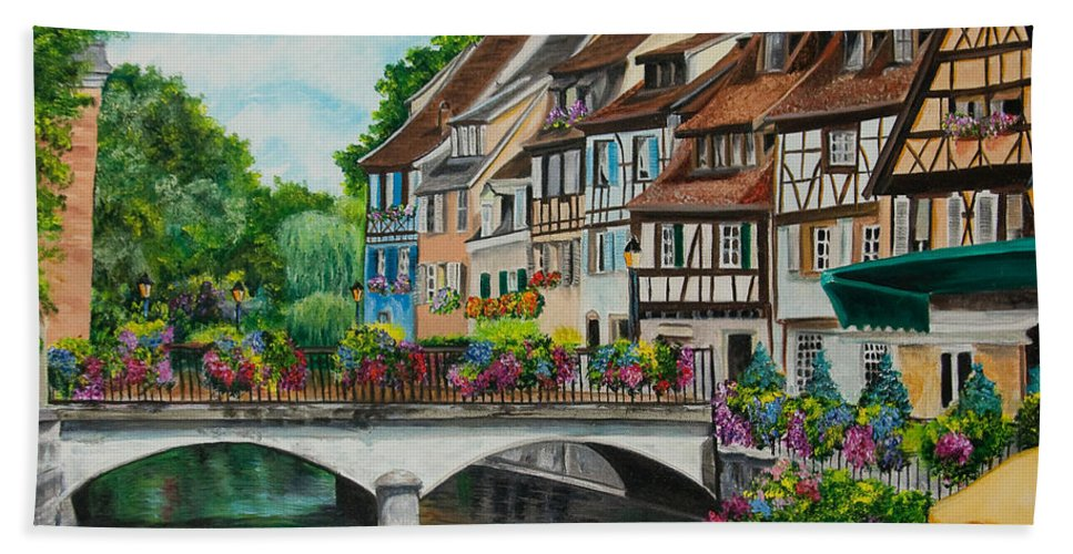 Colmar Hand Towel featuring the painting Colmar In Full Bloom by Charlotte Blanchard