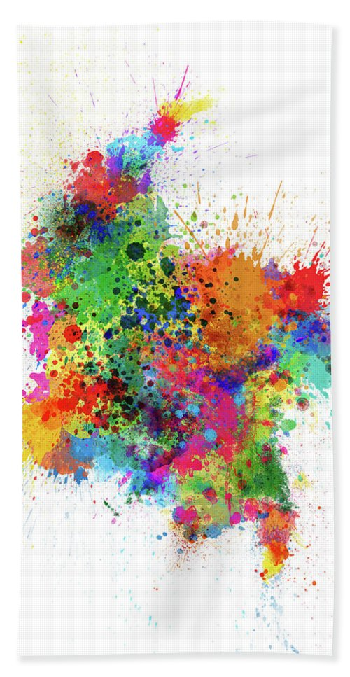 Colombia Map Hand Towel featuring the digital art Colombia Paint Splashes Map by Michael Tompsett