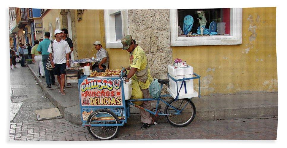 Colombia Bath Sheet featuring the photograph Colombia Srteet Cart II by Brett Winn