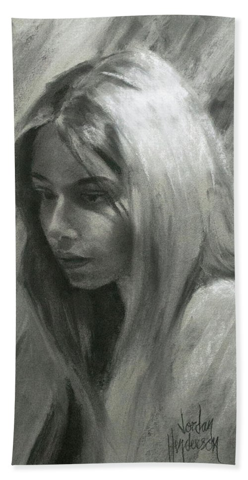Woman Bath Sheet featuring the drawing Portrait Of Woman In Charcoal by Jordan Henderson