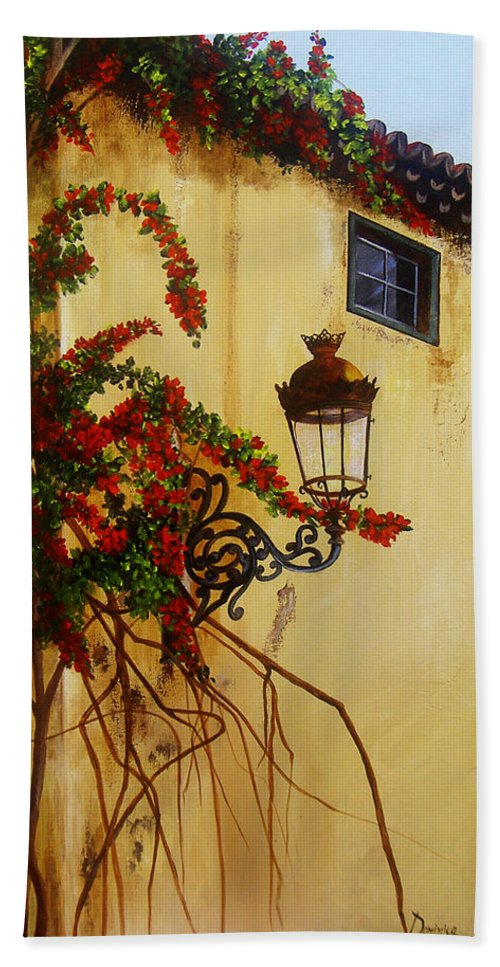 Cuban Painter Hand Towel featuring the painting Colonial Corner by Dominica Alcantara