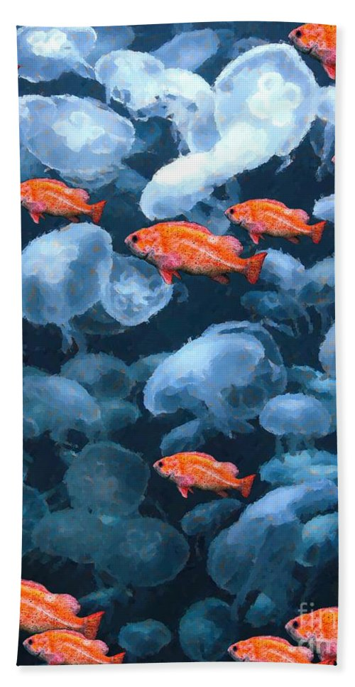Fish Hand Towel featuring the digital art Color And Colorless Fish by Ron Bissett